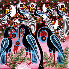 Tableau en plexi-alu  Flock of birds in the bush - Mzuguno