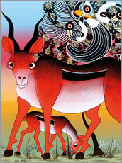Tableau en plexi-alu  Antelope with child - Mustapha
