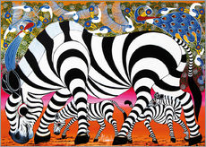 Tableau en plexi-alu  Zebras on foraging - Mustapha
