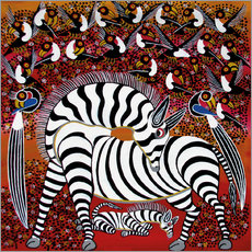 Sticker mural  Zebra with a large flock of birds - Hassani