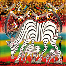 Sticker mural Zebra herd flock of birds