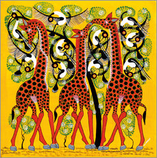 Sticker mural Giraffe Trio and flock of birds