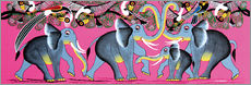 Sticker mural Elephant Herd with flock of birds