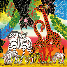 Sticker mural African animals in the jungle