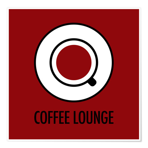 Poster Coffee lounge, red