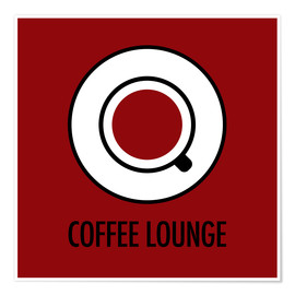 Poster Coffee lounge, rouge