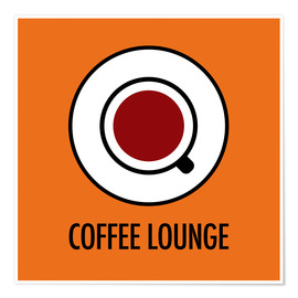 Poster  Coffee Lounge, orange - JASMIN!