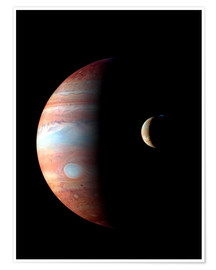 Poster  Jupiter and its volcanic moon Lo - Stocktrek Images