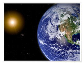 Poster  Earth with water-bearing moon - Stocktrek Images