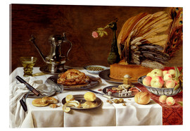 Tableau en verre acrylique  Still Life with a Peacock Pie - Pieter Claesz