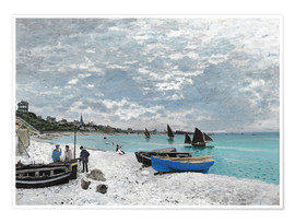 Poster  The Beach at Sainte-Adresse - Claude Monet