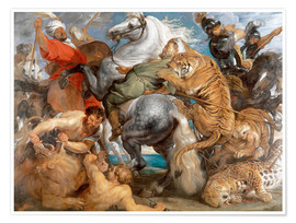 Poster  The Tiger Hunt - Peter Paul Rubens