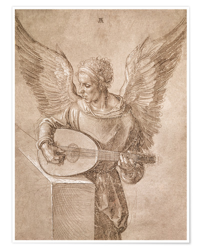 Poster Angel playing a lute