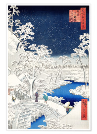 Utagawa Hiroshige - Drum bridge and Setting Sun Hill at Meguro