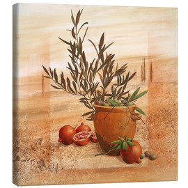 Toile  Pomegranate and olive harvest - Franz Heigl