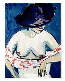 Poster  Half-Naked Woman with a Hat - Ernst Ludwig Kirchner