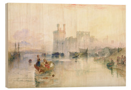 Tableau en bois  View of Carnarvon Castle - Joseph Mallord William Turner