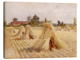 Tableau sur toile  Corn Stooks by Bray Church - Hardy Heywood