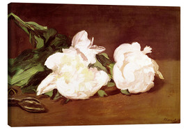 Tableau sur toile  Branch of White Peonies and Secateurs - Edouard Manet