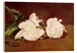 Tableau en bois  Branch of White Peonies and Secateurs - Edouard Manet