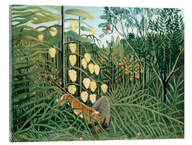 Verre acrylique  Tiger attacks a buffalo - Henri Rousseau