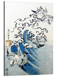 Tableau en aluminium  Waves and Birds - Katsushika Hokusai