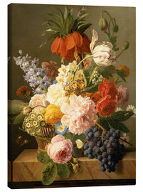 Tableau sur toile  Still Life with Flowers and Fruit - Jan Frans van Dael