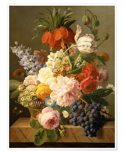 Poster Still Life with Flowers and Fruit