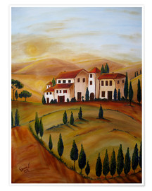 Poster  Sunrise in Tuscany - Christine Huwer