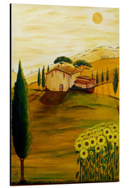 Tableau en aluminium  Tournesols en Toscane - Christine Huwer
