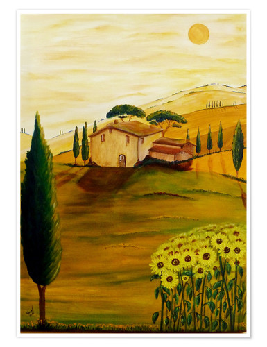 Poster Sunflowers in Tuscany
