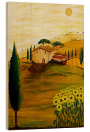 Tableau en bois  Sunflowers in Tuscany - Christine Huwer