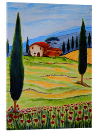 Tableau en verre acrylique  Flowering Poppies of Tuscany 4 - Christine Huwer