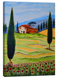 Tableau sur toile  Flowering Poppies of Tuscany 4 - Christine Huwer