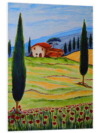 Tableau en PVC  Flowering Poppies of Tuscany 4 - Christine Huwer