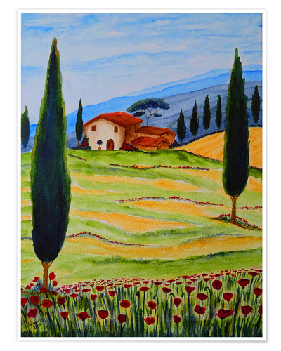 Poster Flowering Poppies of Tuscany 4