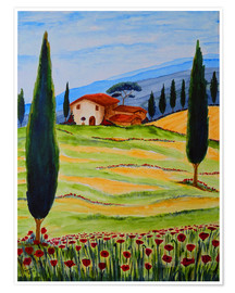 Poster  Flowering Poppies of Tuscany 4 - Christine Huwer