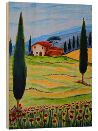Tableau en bois  Flowering Poppies of Tuscany 4 - Christine Huwer
