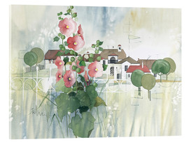 Verre acrylique  Rural Impression with hollyhocks - Franz Heigl