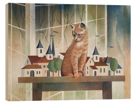 Tableau en bois  View of the cat - Franz Heigl