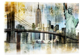Verre acrylique  Skyline New York Fraktal I - Städtecollagen