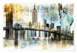 Poster  Skyline de New York I - Städtecollagen