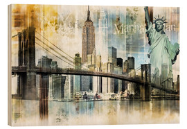 Tableau en bois  Skyline de New York I - Städtecollagen