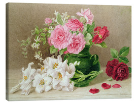 Tableau sur toile  Roses and Lilies - Mary Elizabeth Duffield