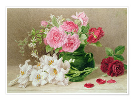 Poster  Roses et lys - Mary Elizabeth Duffield