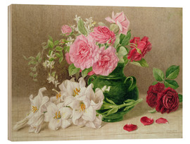Tableau en bois  Roses and Lilies - Mary Elizabeth Duffield