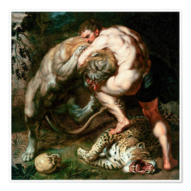 Poster  Hercules Fighting the Nemean Lion - Peter Paul Rubens