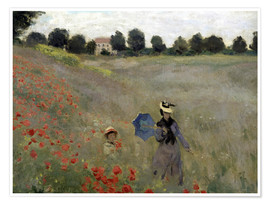 Poster  Poppy field at Argenteuil, detail - Claude Monet