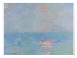 Poster  Pont de Waterloo, soleil à travers le brouillard - Claude Monet