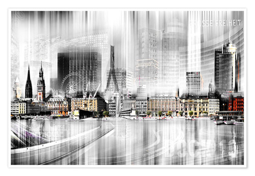 Poster Hambourg, collage abstrait